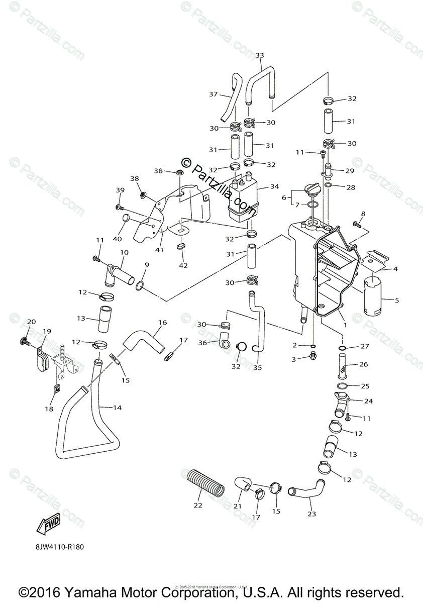 Yamaha Snowmobile 2016 OEM Parts Diagram for Oil Tank
