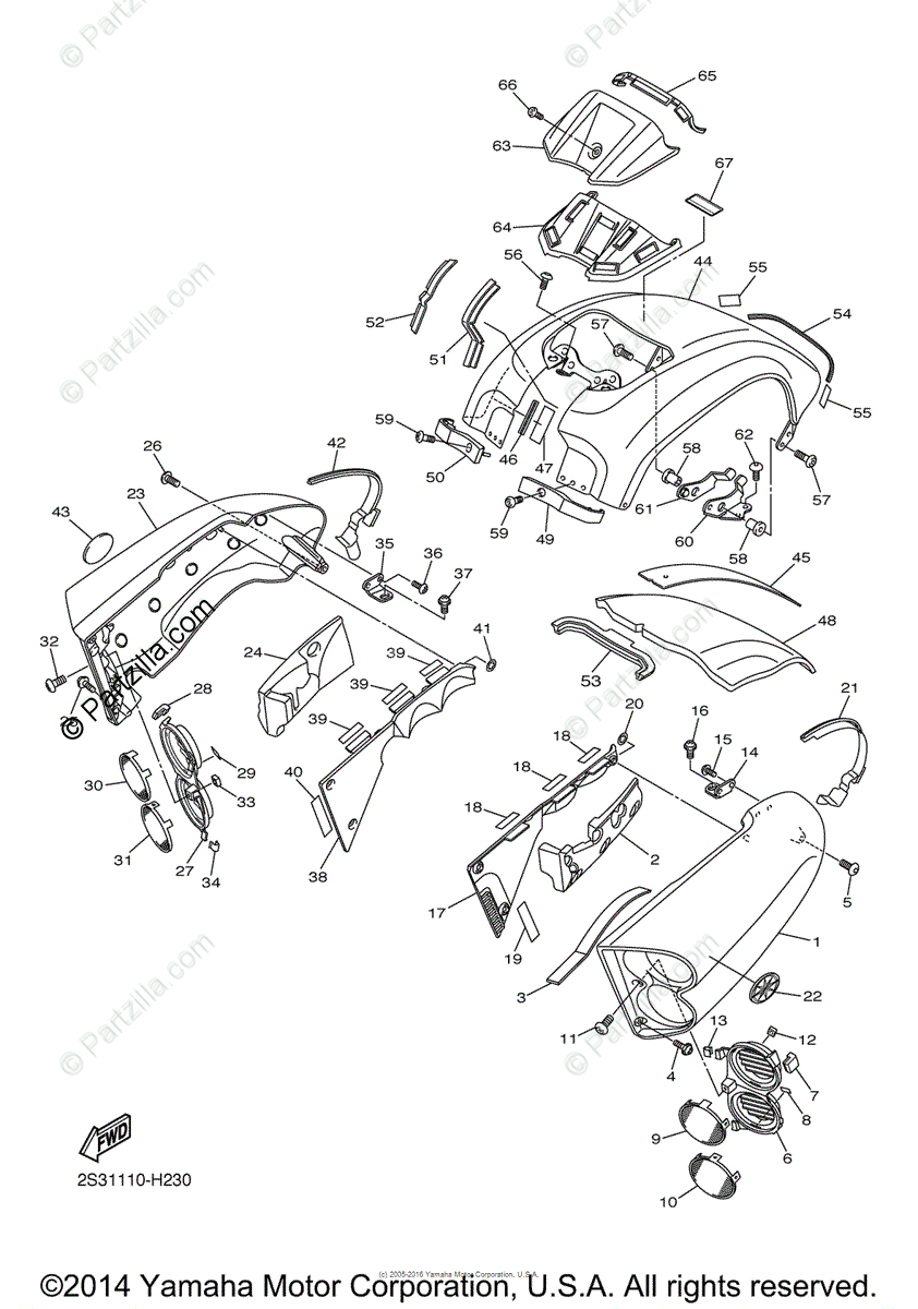 Yamaha Motorcycle 2015 OEM Parts Diagram for Side Cover