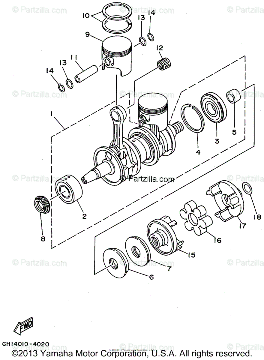 Yamaha Waverunner 1995 OEM Parts Diagram for Crankshaft