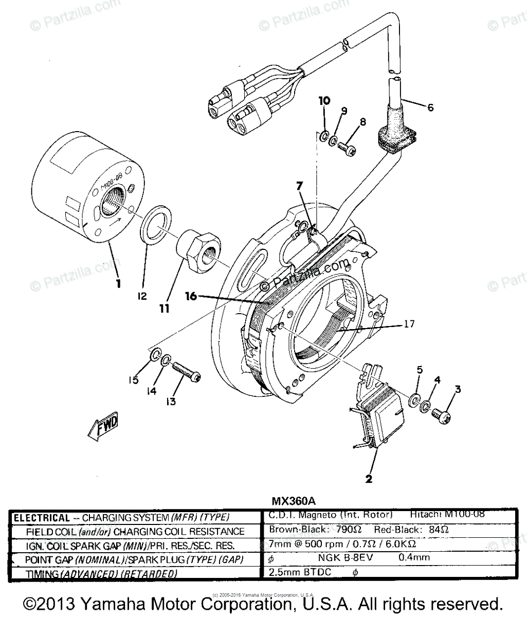 Yamaha Motorcycle Oem Parts Diagram For C D I Magneto