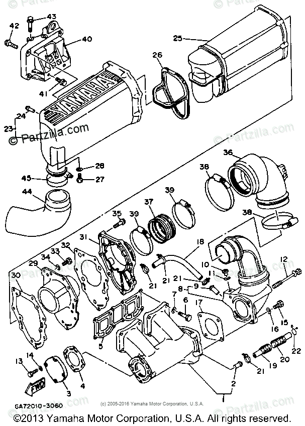 Yamaha Waverunner 1993 OEM Parts Diagram for Exhaust (1