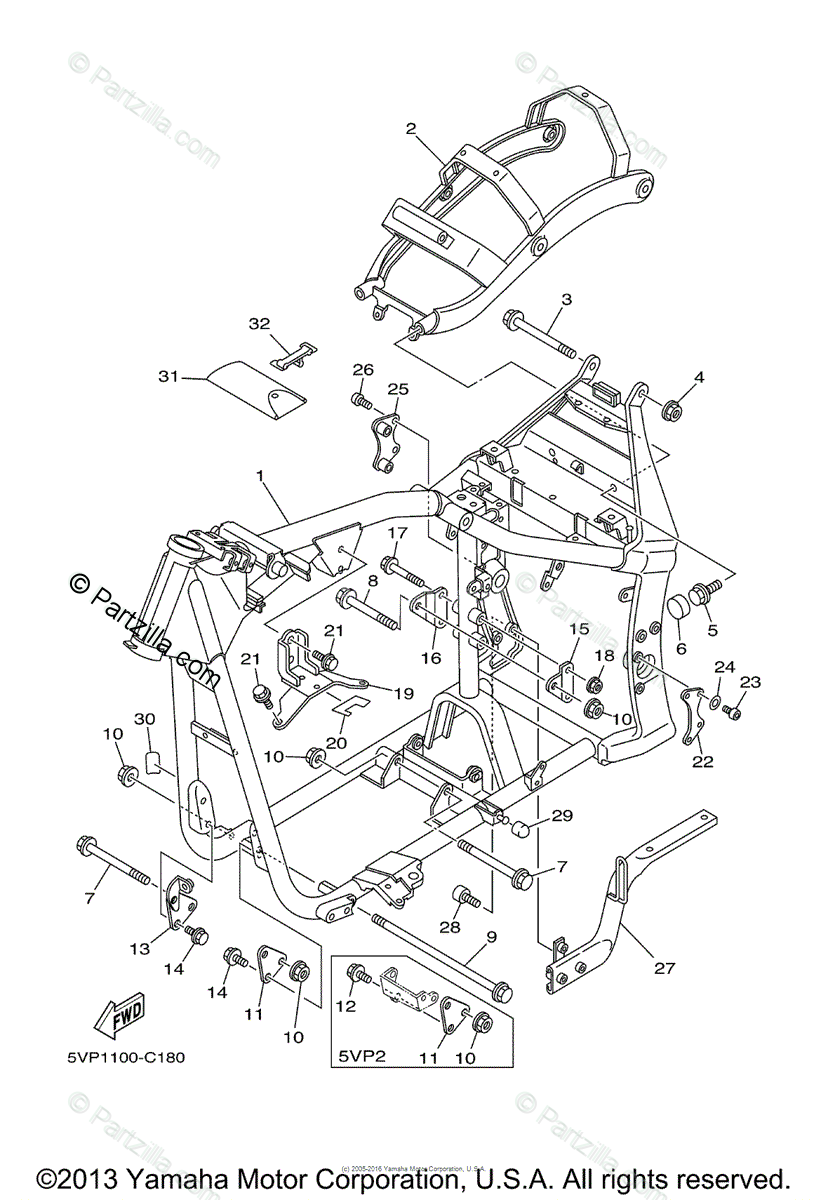 Yamaha Motorcycle 2004 OEM Parts Diagram for Frame