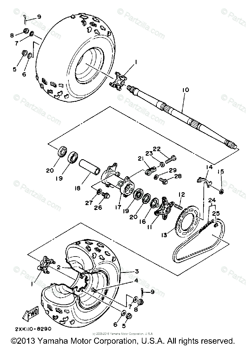 Yamaha ATV 1988 OEM Parts Diagram for Rear Wheel
