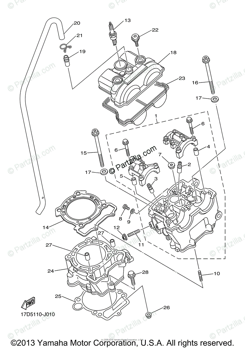 Yamaha Motorcycle 2013 OEM Parts Diagram for Cylinder