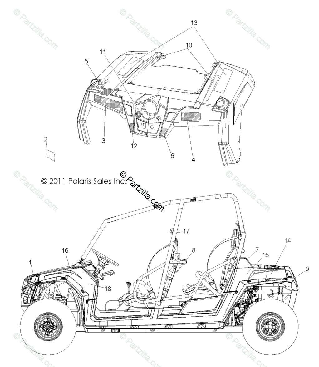 Polaris Side by Side 2012 OEM Parts Diagram for Body