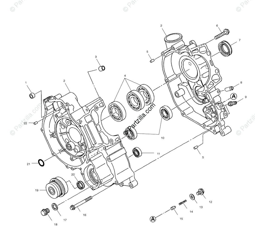 Polaris ATV 2000 OEM Parts Diagram for Crankcase A00ch50ak