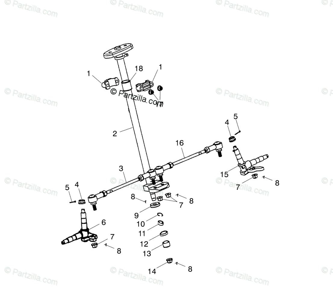 Polaris ATV 2001 OEM Parts Diagram for Steering