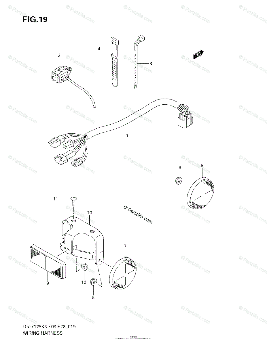 Suzuki Motorcycle 2004 OEM Parts Diagram for Wiring