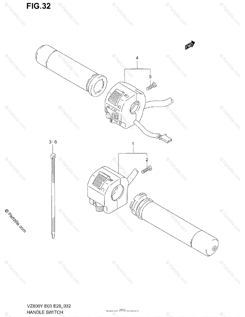 Suzuki Motorcycle 1998 OEM Parts Diagram for Handle Switch