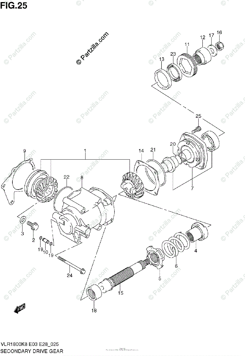 Suzuki Motorcycle 2008 OEM Parts Diagram for Secondary