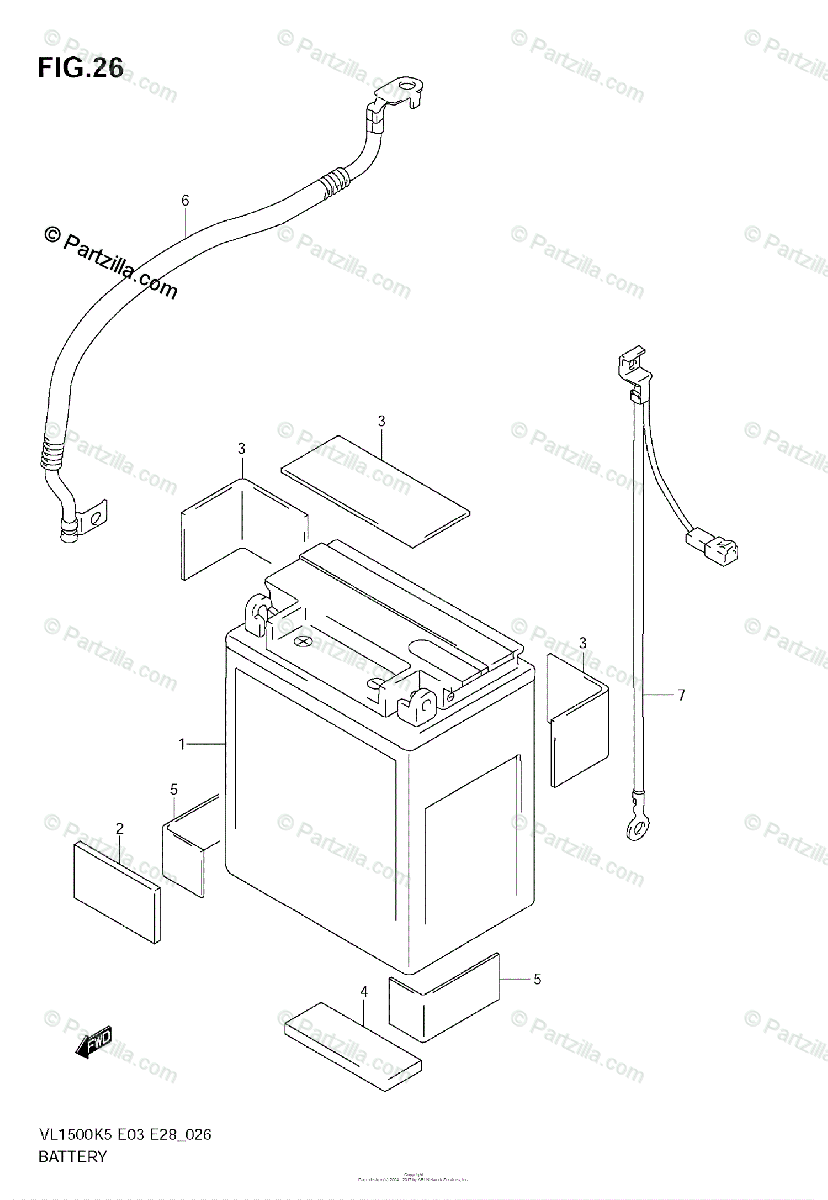 Suzuki Motorcycle 2006 OEM Parts Diagram for BATTERY