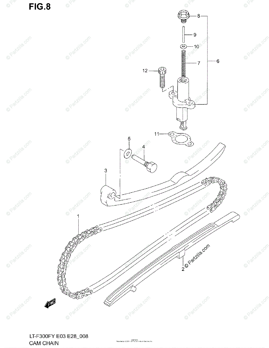 Suzuki ATV 2000 OEM Parts Diagram for Cam Chain