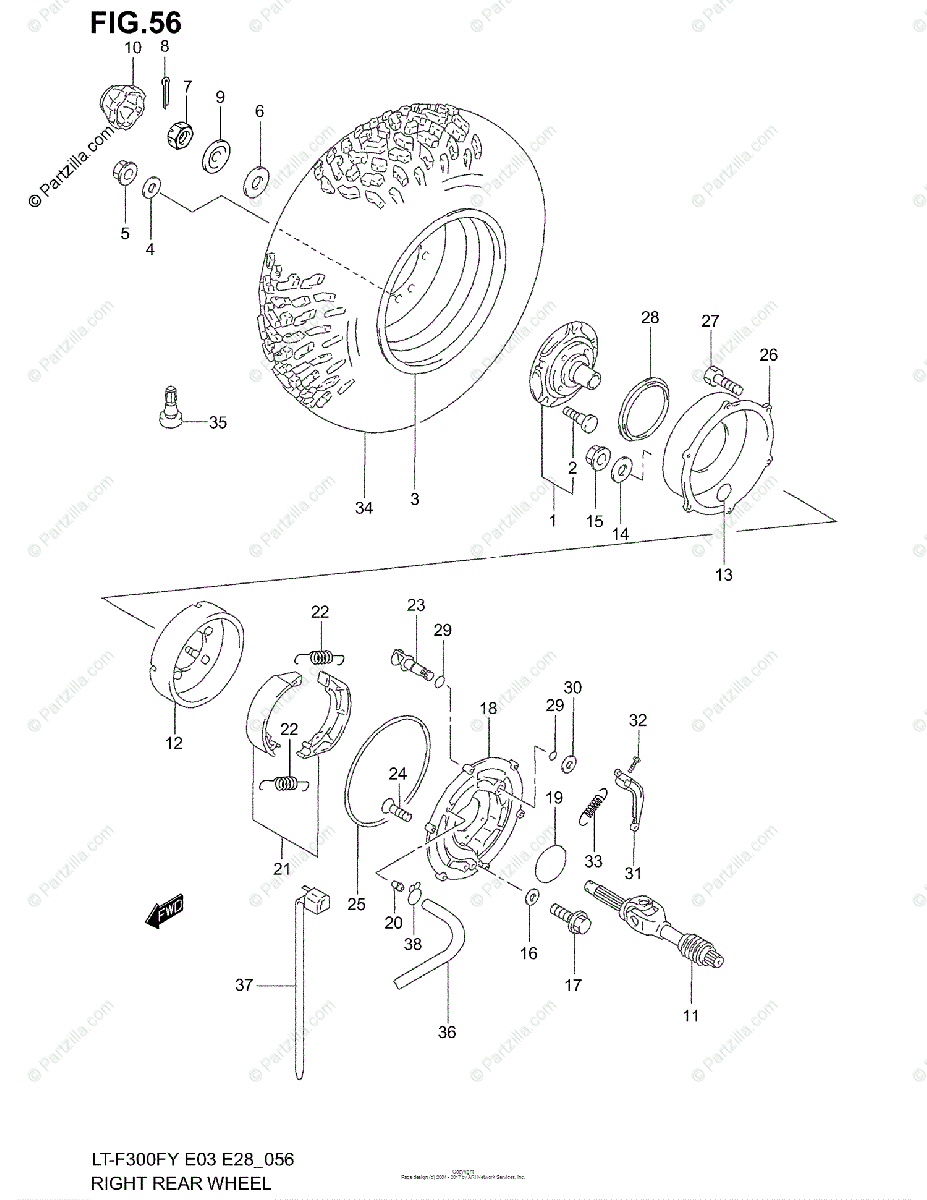 Suzuki ATV 2001 OEM Parts Diagram for Right Rear Wheel