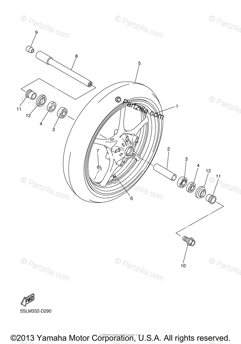 Yamaha Motorcycle 2006 OEM Parts Diagram for Front Wheel