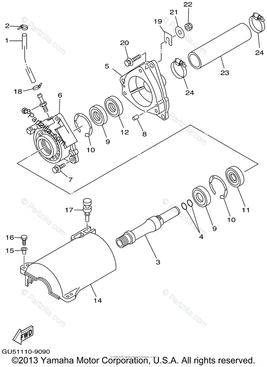 Yamaha Waverunner 1999 OEM Parts Diagram for Jet Unit 2