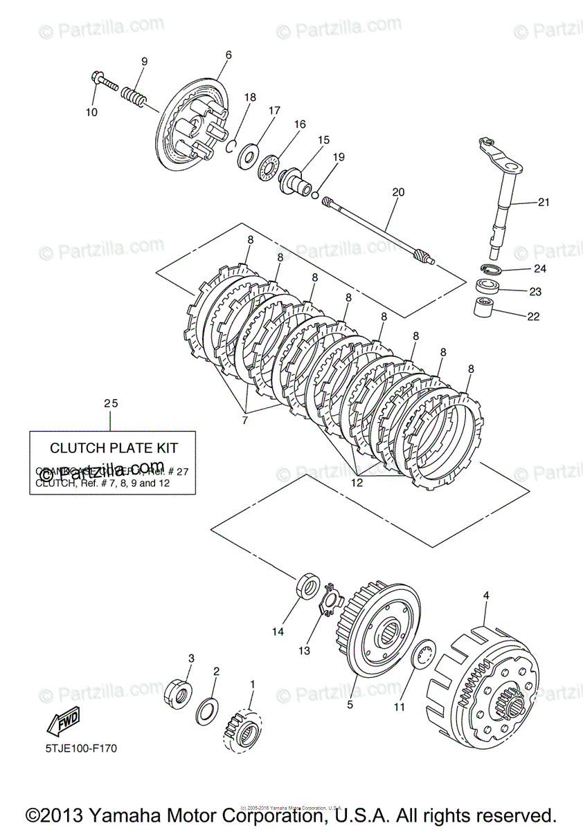 Yamaha Motorcycle 2007 OEM Parts Diagram for Clutch