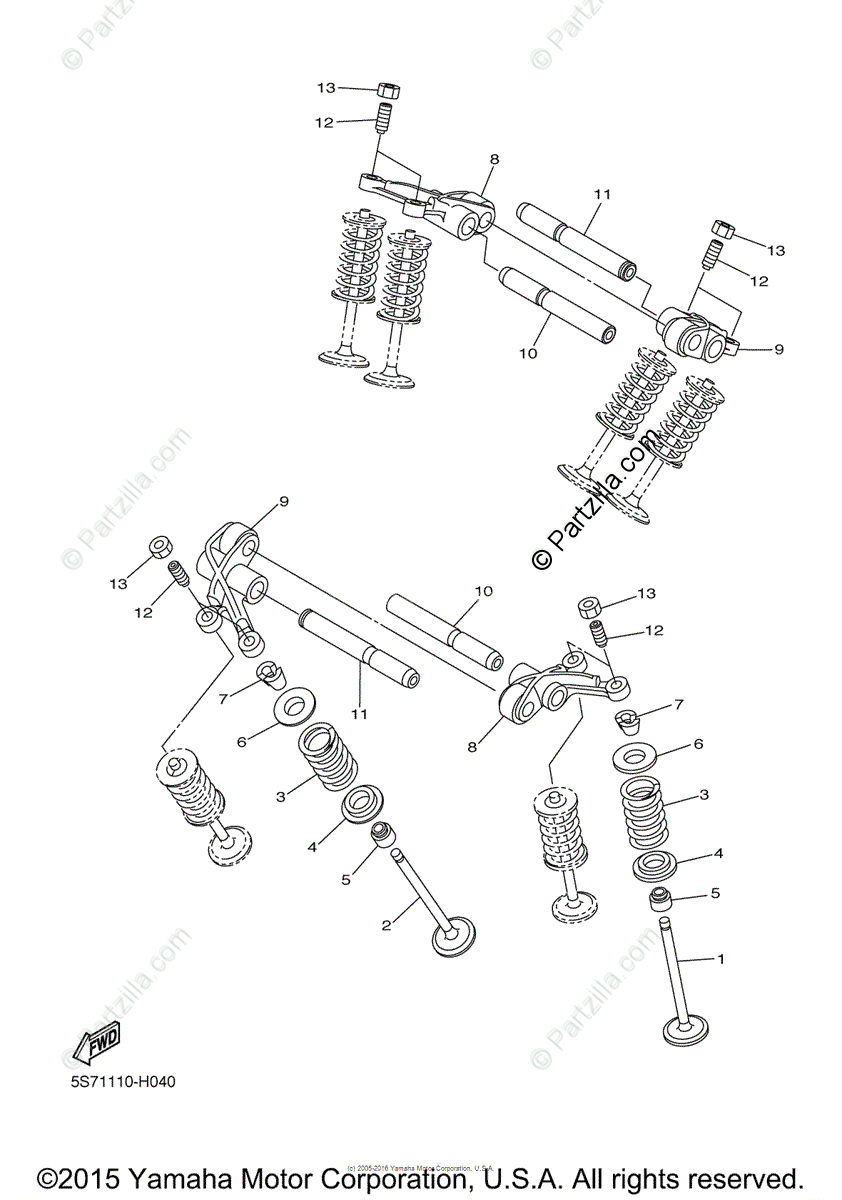 Yamaha Motorcycle 2009 OEM Parts Diagram for Valve