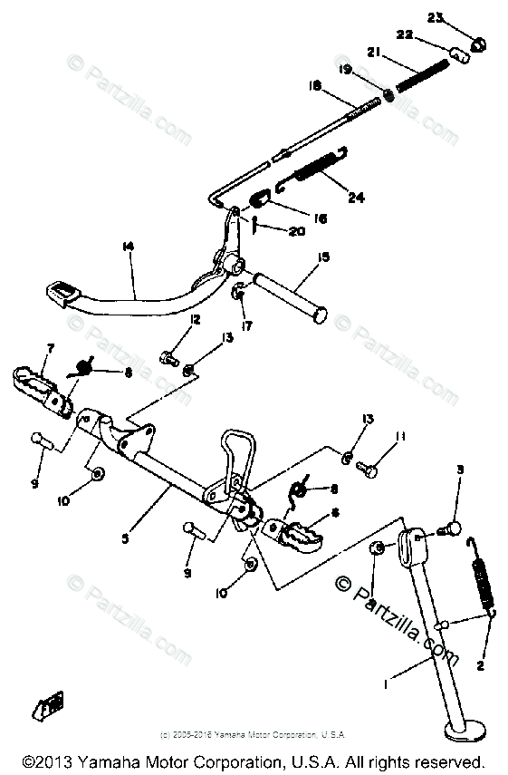 Yamaha Motorcycle 1979 OEM Parts Diagram for STAND