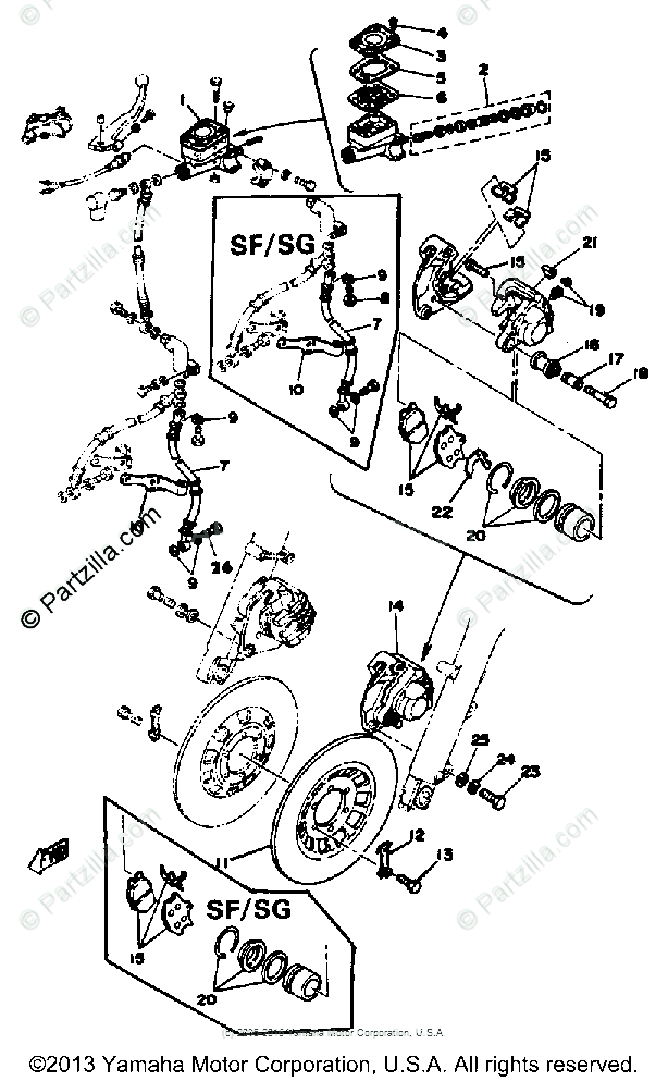 Yamaha Motorcycle 1979 OEM Parts Diagram for DOUBLE DISC