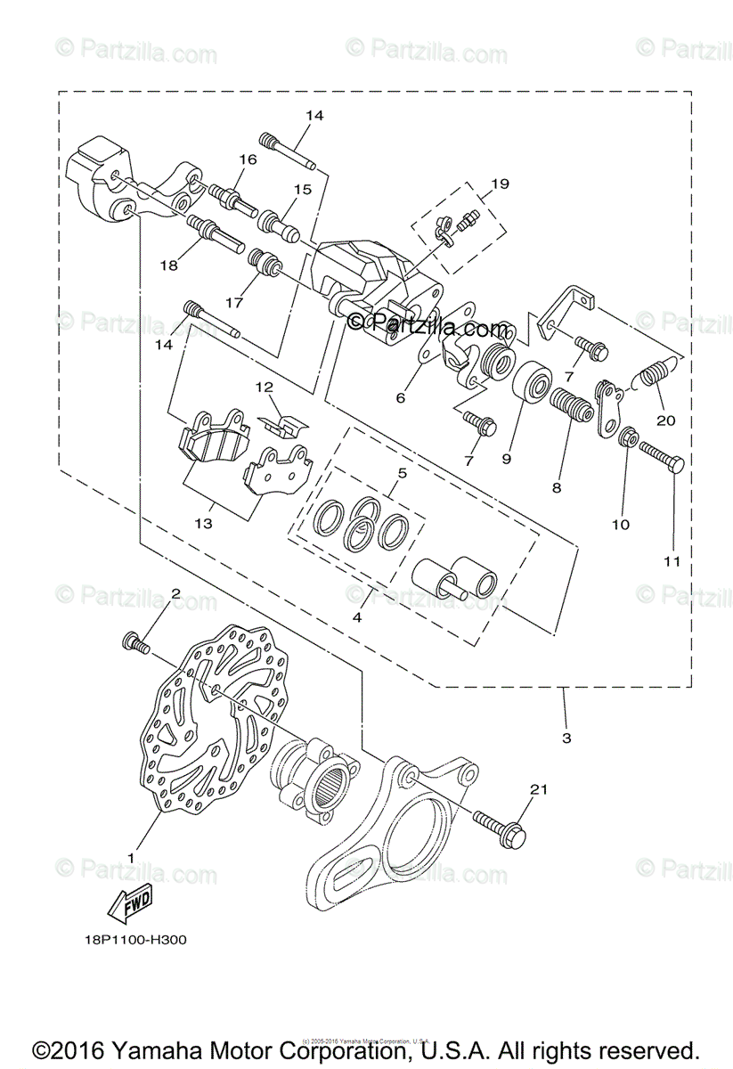 Yamaha ATV 2017 OEM Parts Diagram for Rear Brake Caliper