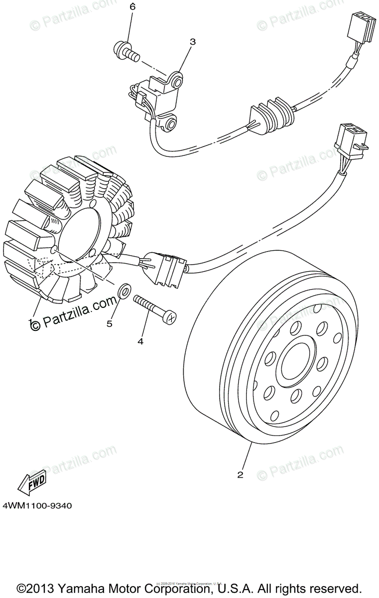Yamaha Motorcycle 1999 OEM Parts Diagram for Generator