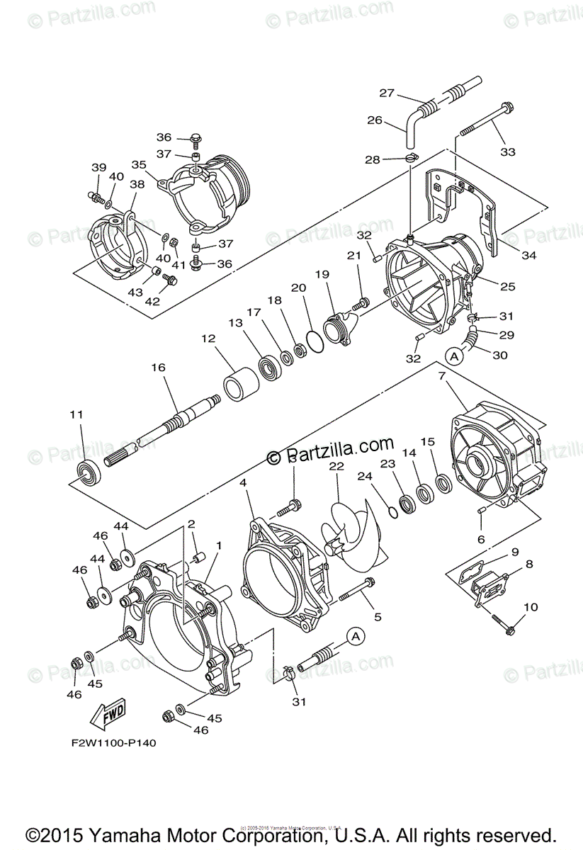 Yamaha Waverunner 2015 OEM Parts Diagram for Jet Unit 1