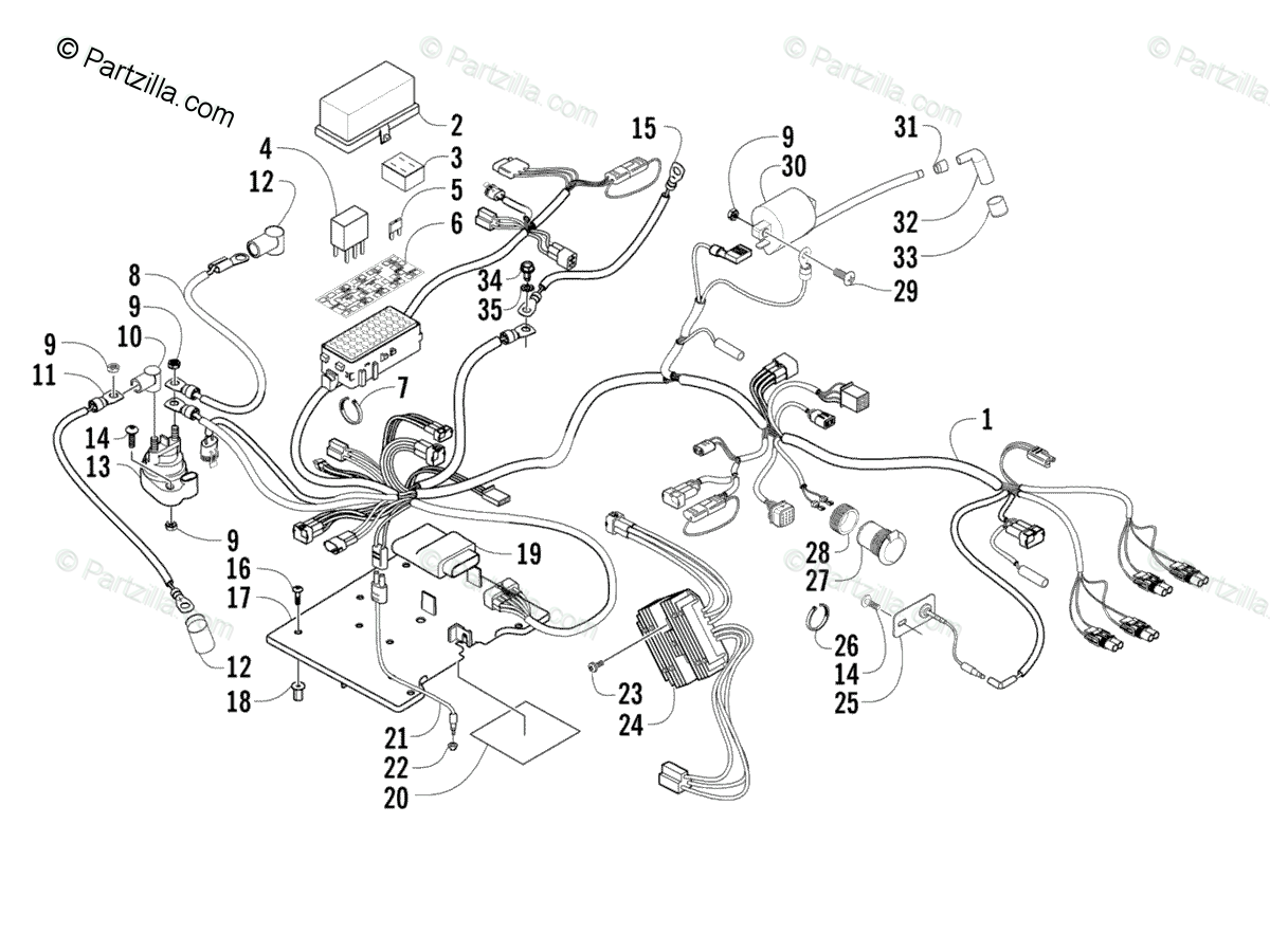 Arctic Cat ATV 2005 OEM Parts Diagram for Wiring Harness