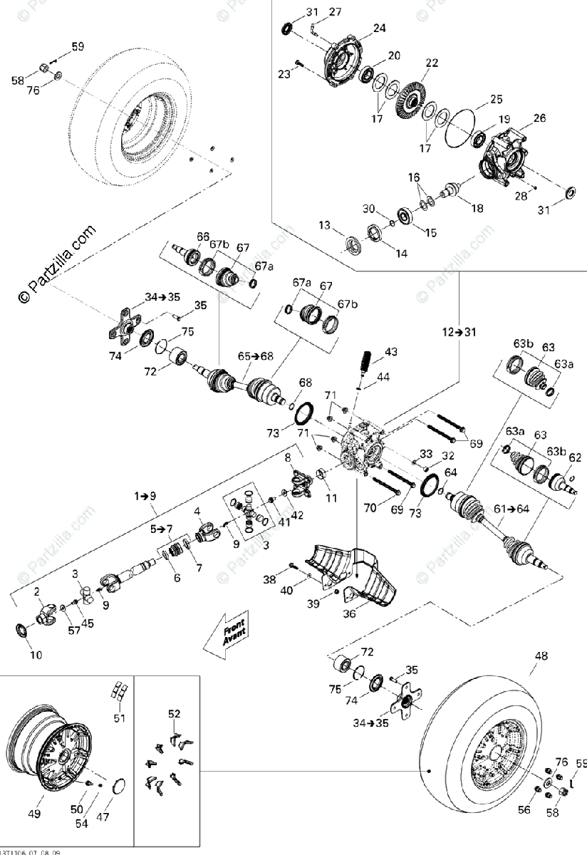 Can-Am ATV 2011 OEM Parts Diagram for Drive System, Rear