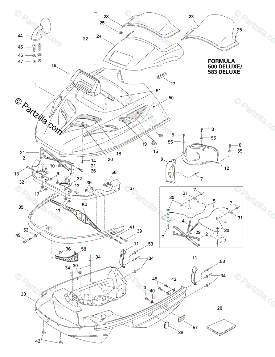 Ski-Doo 1998 FORMULA 583 DELUXE OEM Parts Diagram for Cab