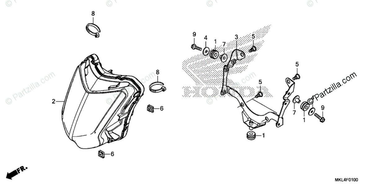 Honda Motorcycle 2018 OEM Parts Diagram for Headlight
