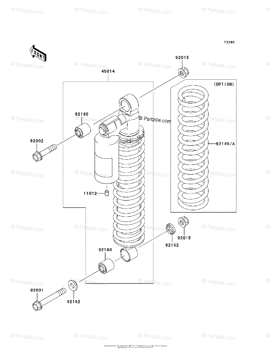 Kawasaki ATV 2004 OEM Parts Diagram for Shock Absorber(s