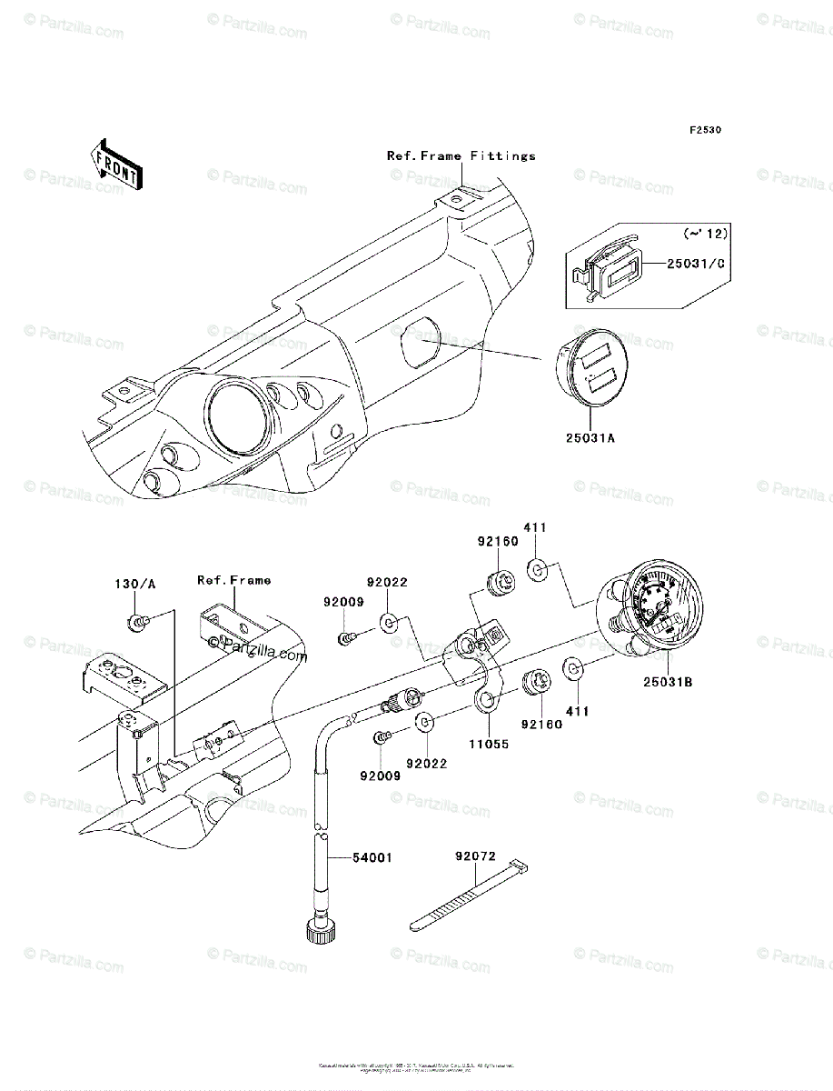 Kawasaki Side by Side 2012 OEM Parts Diagram for Meter(s
