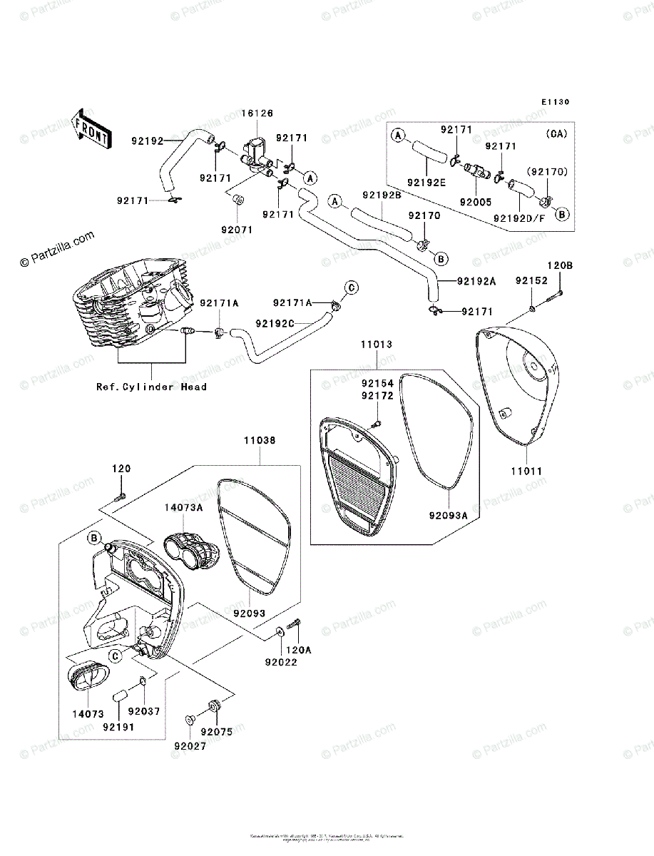 Kawasaki Motorcycle 2006 OEM Parts Diagram for Air Cleaner