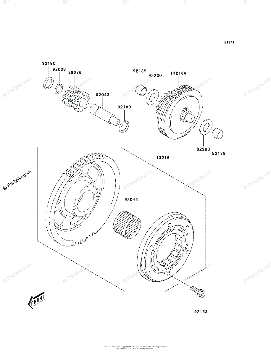 Kawasaki ATV 2004 OEM Parts Diagram for Starter Clutch