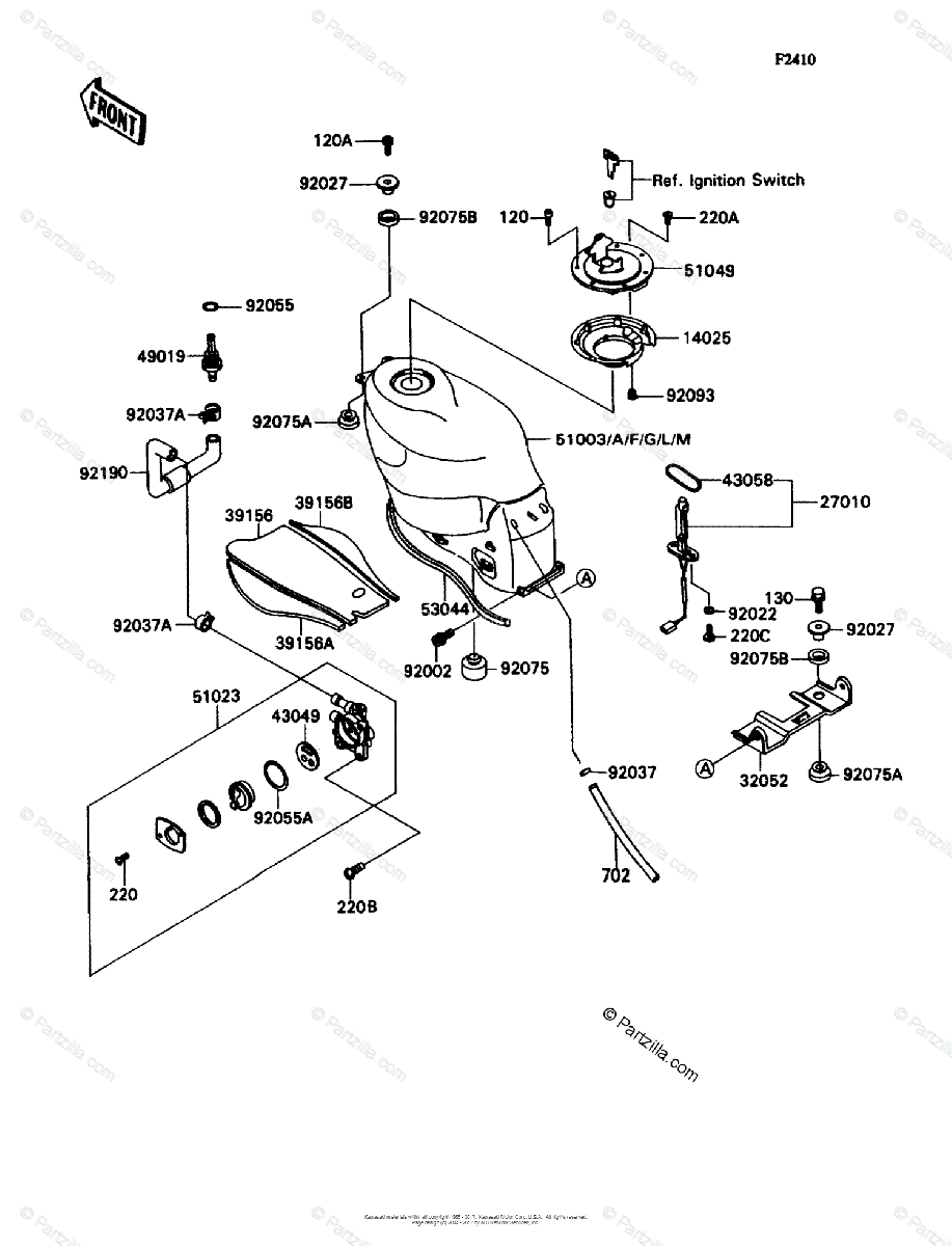 Kawasaki Motorcycle 1991 OEM Parts Diagram for Fuel Tank