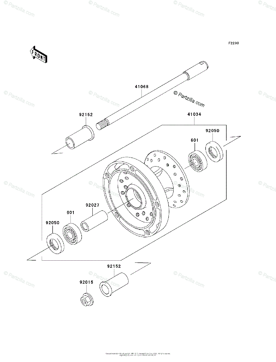 Kawasaki Motorcycle 2006 OEM Parts Diagram for Front Wheel