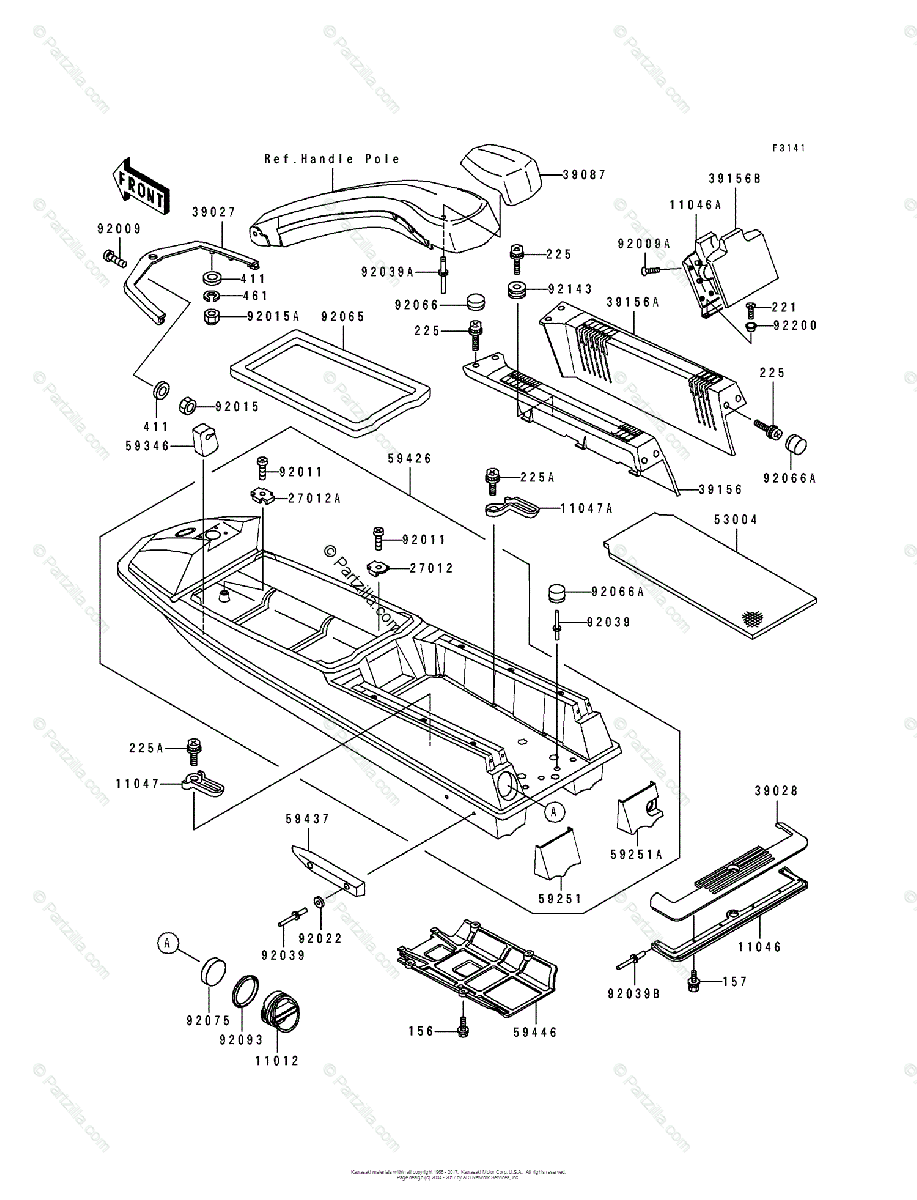 Kawasaki Jet Ski 1991 OEM Parts Diagram for Hull