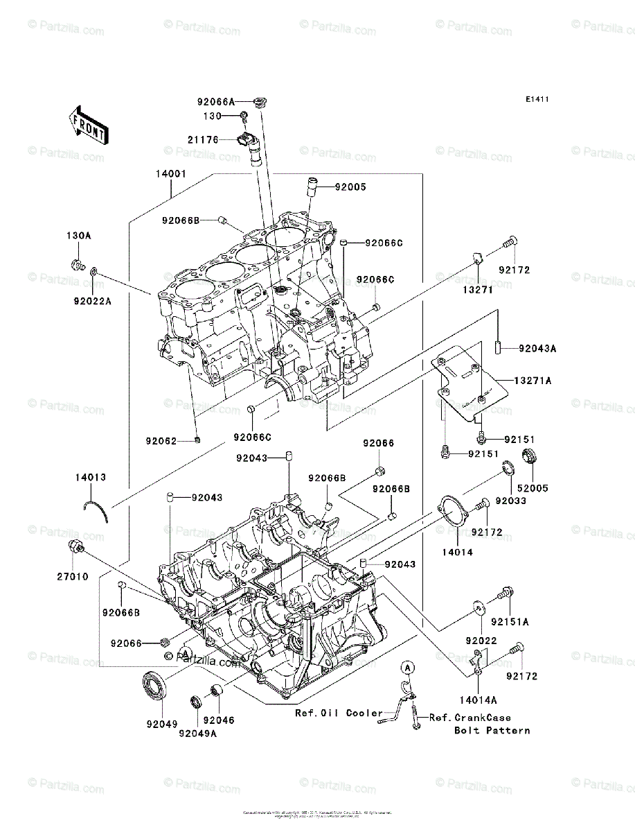 Kawasaki Motorcycle 2007 OEM Parts Diagram for Crankcase