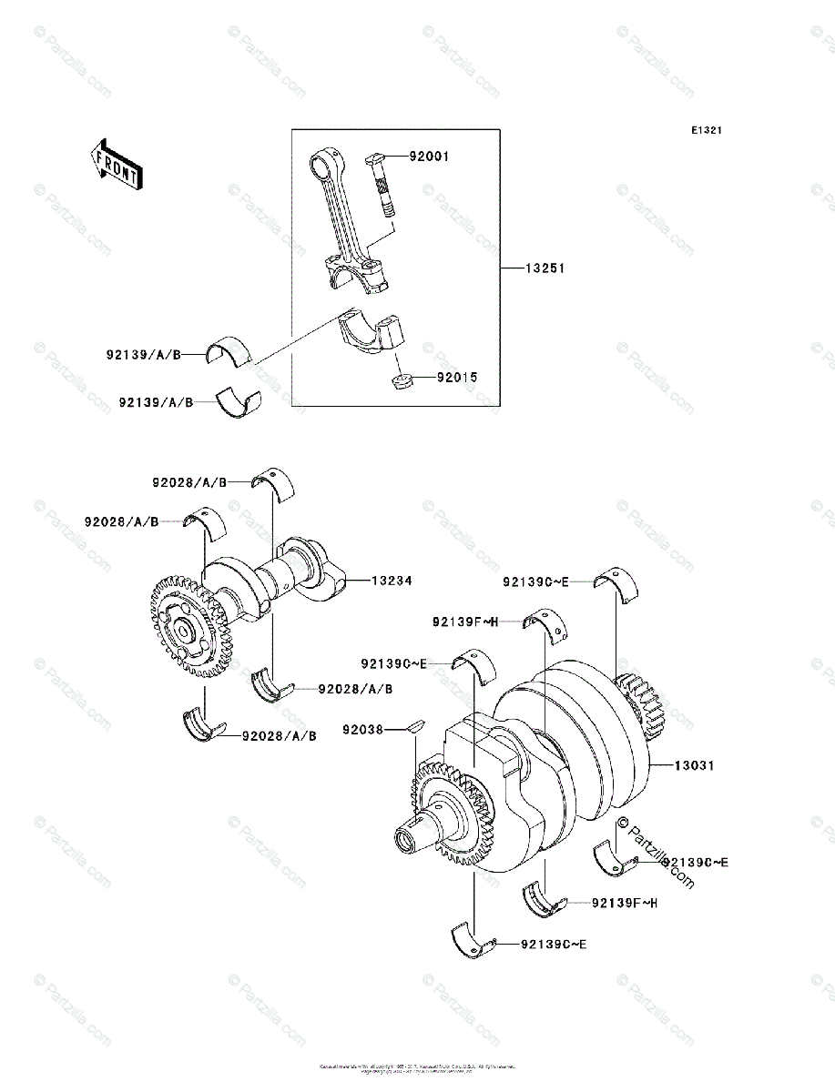 Kawasaki Motorcycle 2013 OEM Parts Diagram for Crankshaft