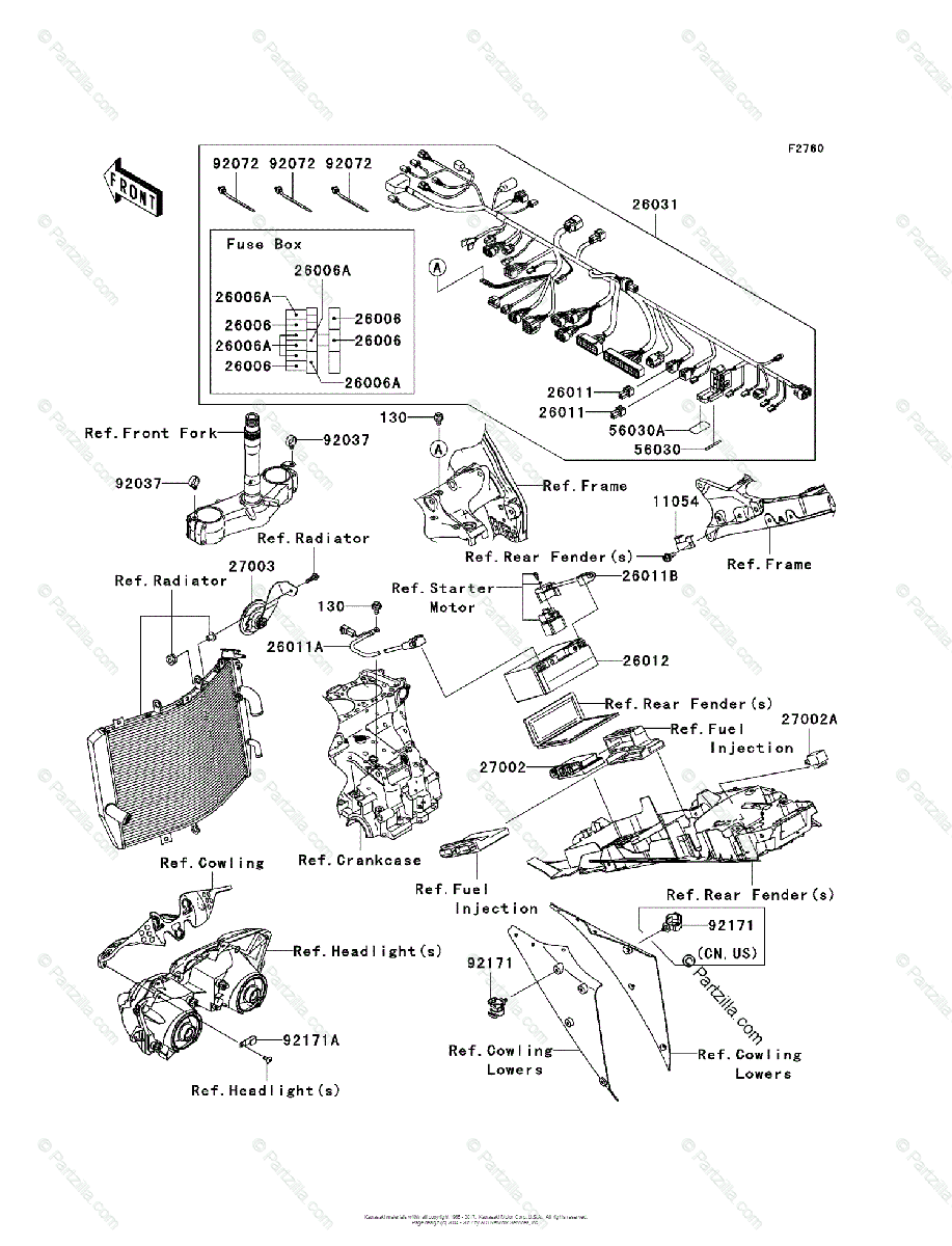Kawasaki Motorcycle 2007 OEM Parts Diagram for Chassis