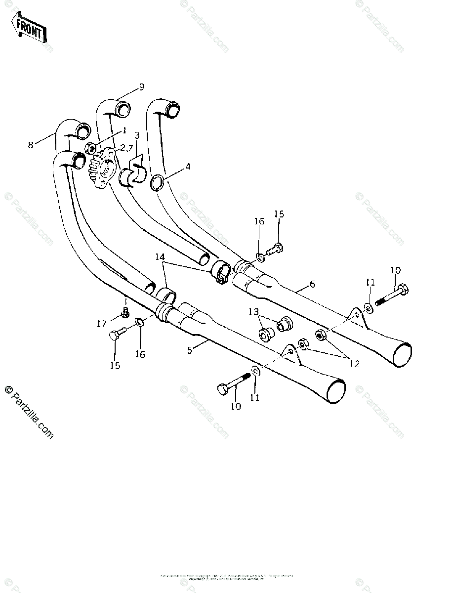 Kawasaki Motorcycle 1977 OEM Parts Diagram for MUFFLERS