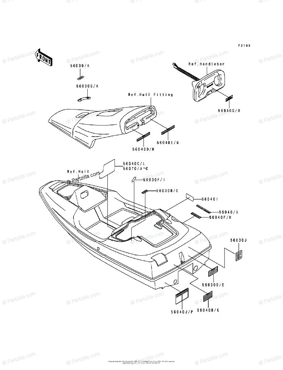 Kawasaki Jet Ski 1992 OEM Parts Diagram for Labels