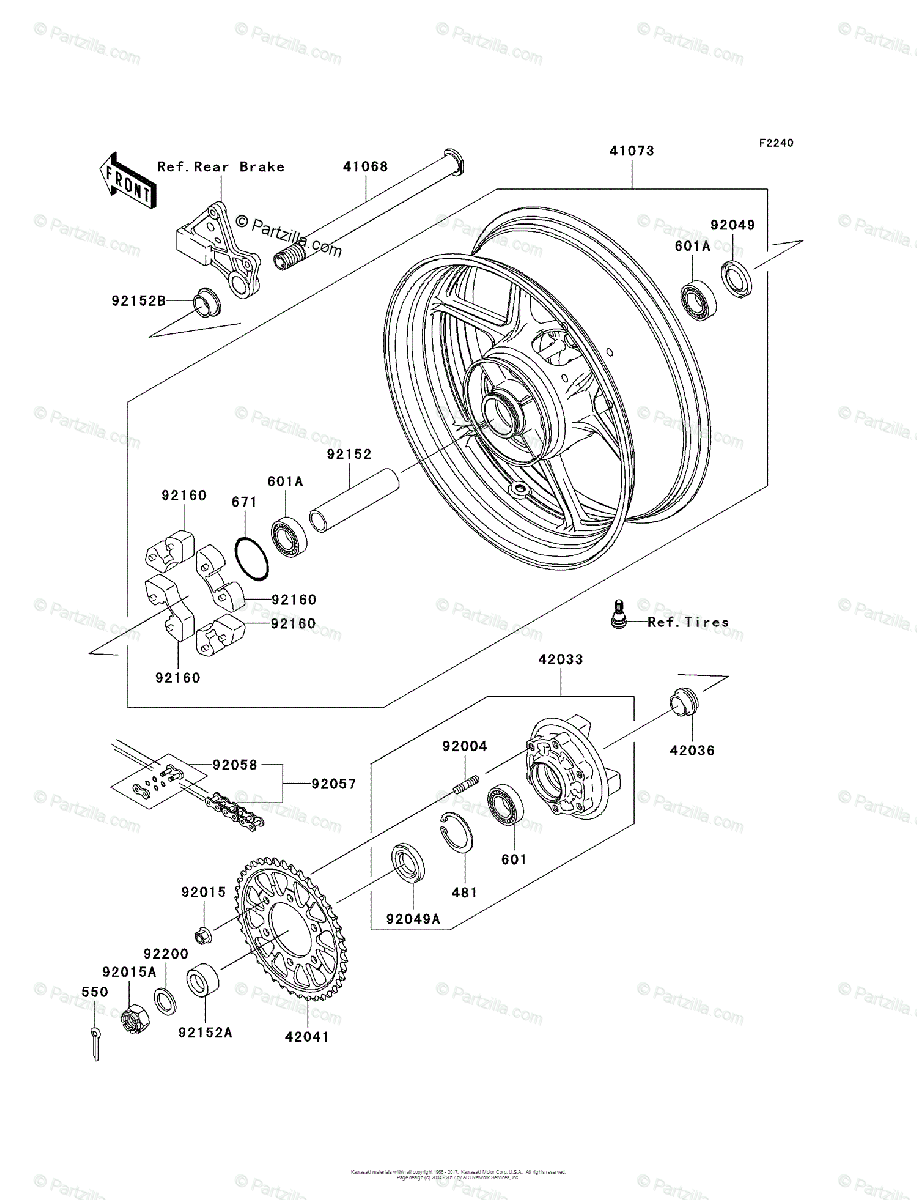 Kawasaki Motorcycle 2005 OEM Parts Diagram for Rear Wheel