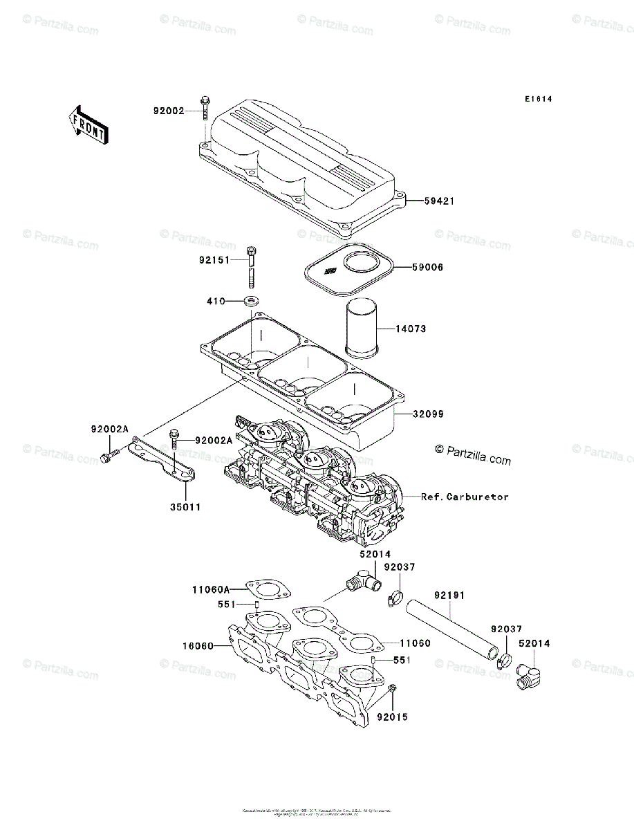 Kawasaki Jet Ski 1998 OEM Parts Diagram for Flame Arrester