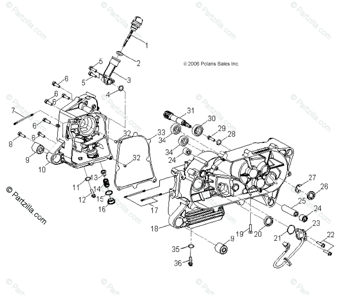 Polaris ATV 2007 OEM Parts Diagram for Engine, Crankcase