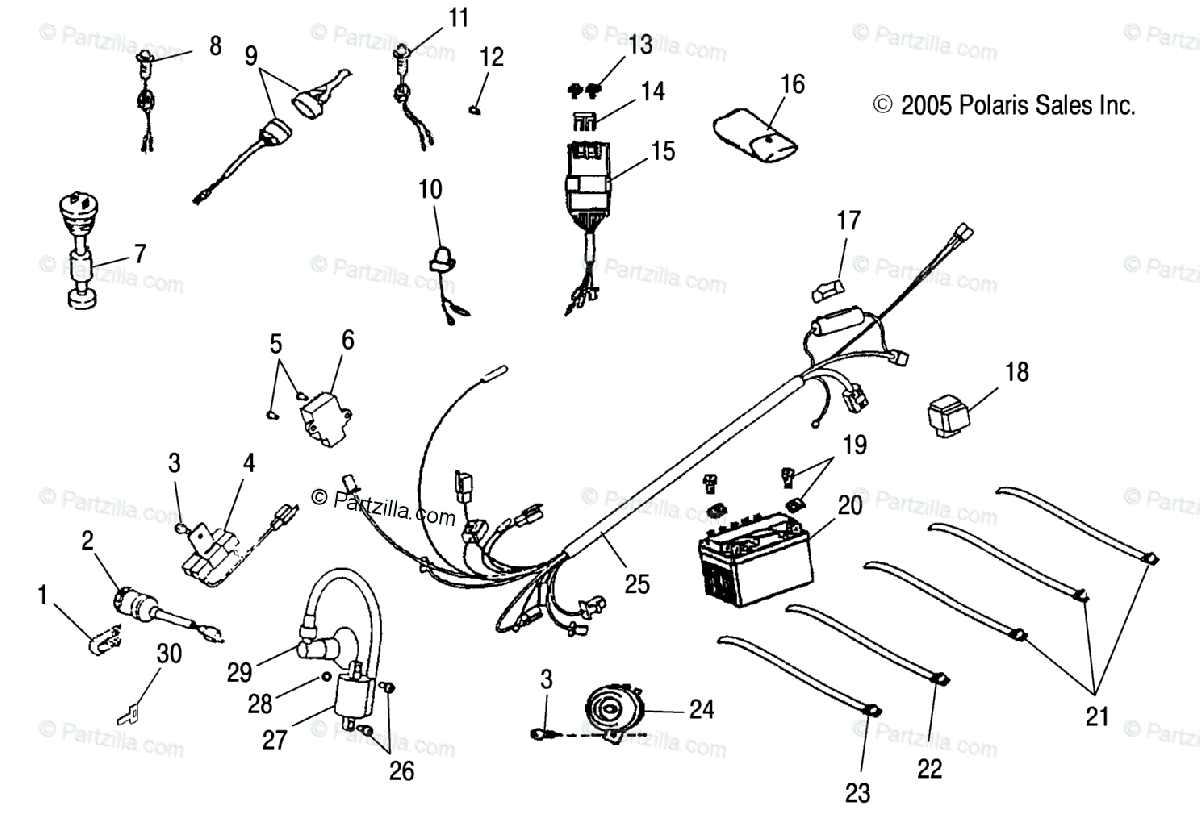 Polaris ATV 2005 OEM Parts Diagram for Electrical Parts