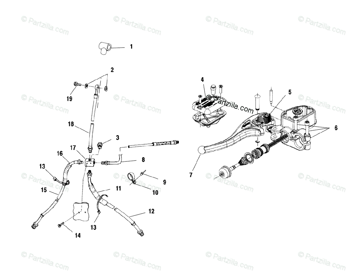 Polaris ATV 2001 OEM Parts Diagram for Controls/Master