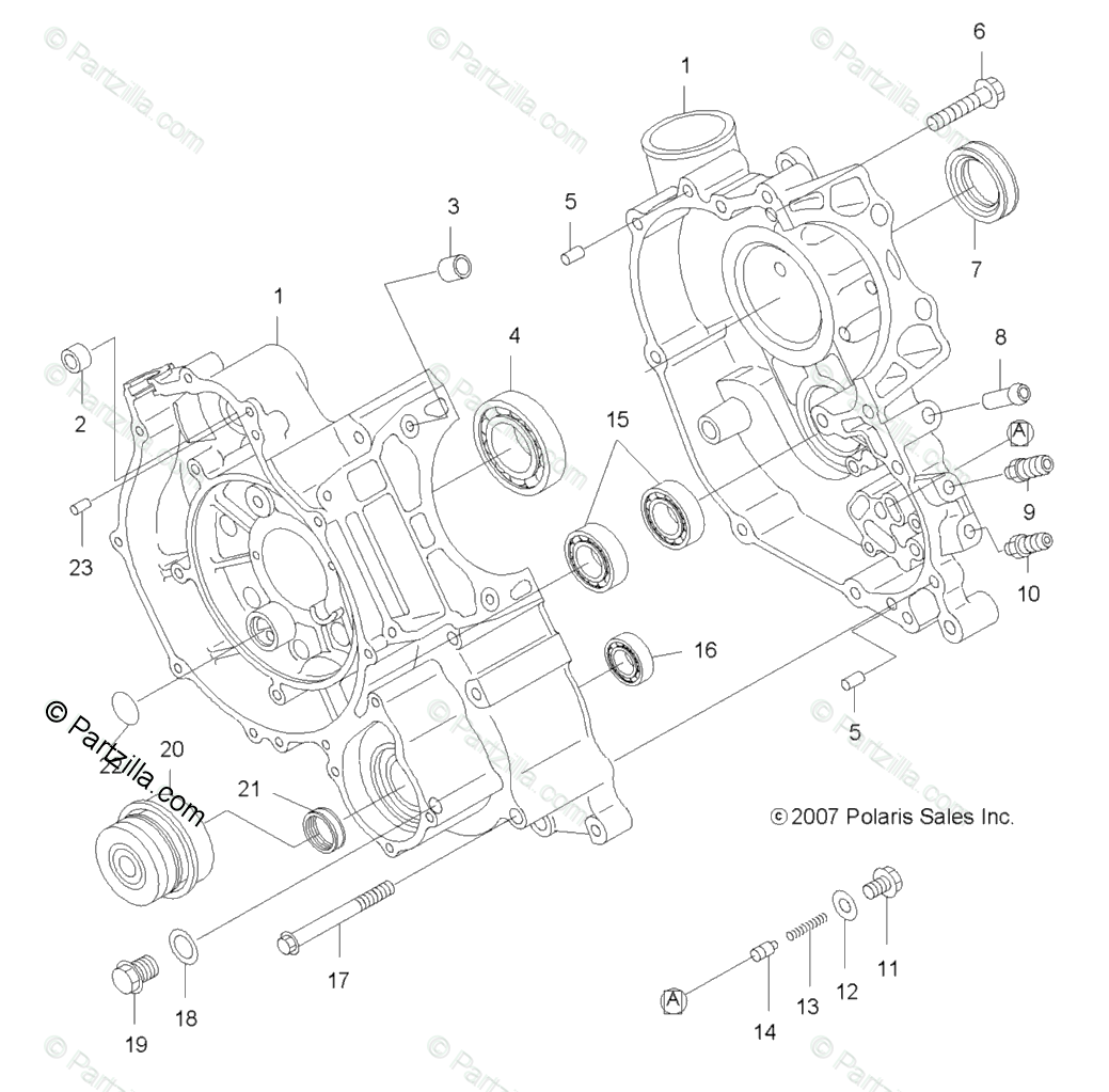 Polaris ATV 2008 OEM Parts Diagram for Engine, Crankcase