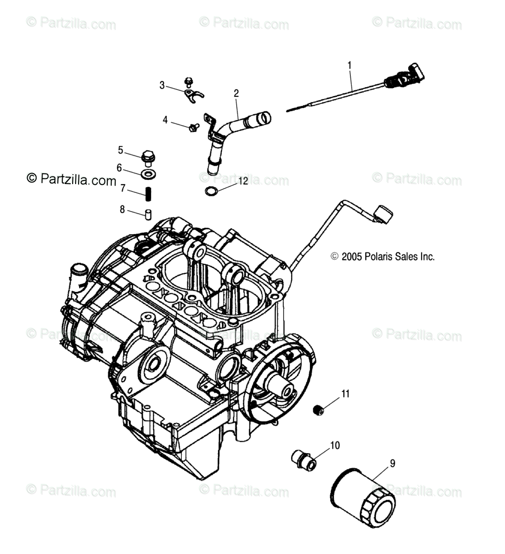 Polaris ATV 2007 OEM Parts Diagram for Engine, Dipstick