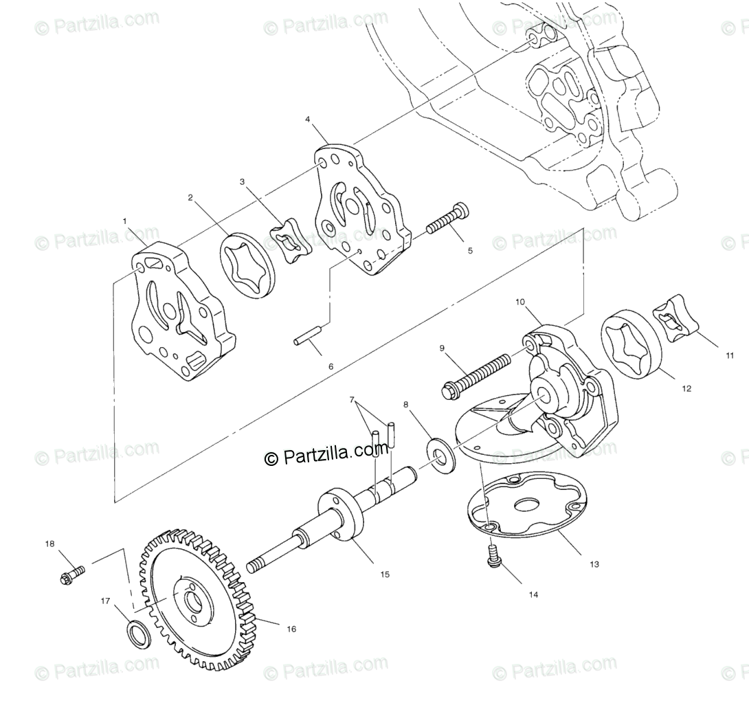 Polaris ATV 2002 OEM Parts Diagram for Oil Pump All